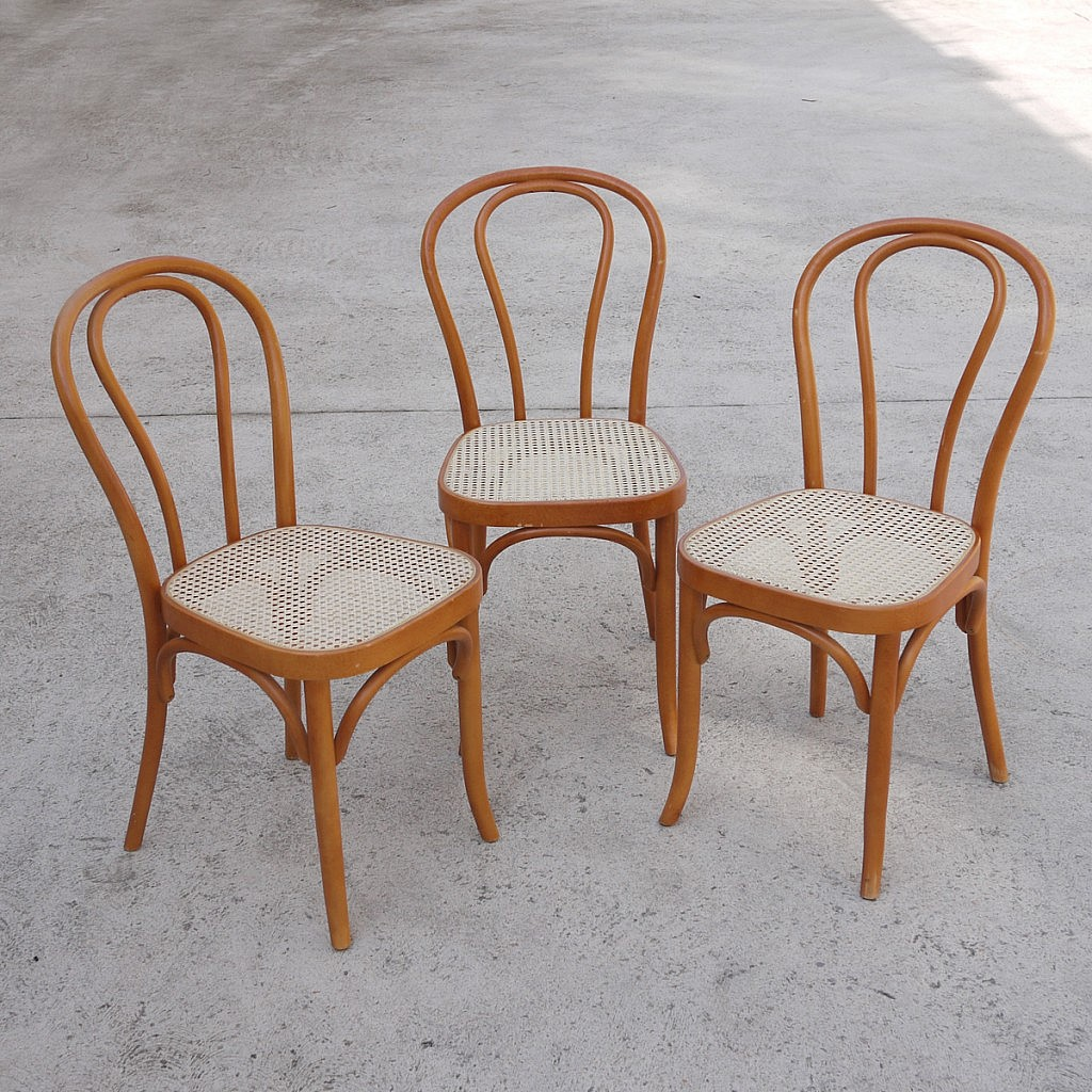 Trio Thonet Style Wooden Dining Chairs 1970s Kitchen